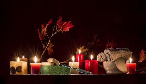 Candles, soap, comb, machalka, still life
