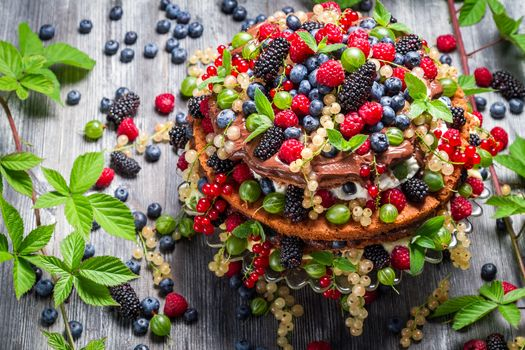 торт, десерт, ягоды