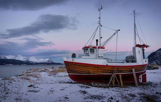 Sorkjosen, Troms Fylke, norway, Reisafjorden, Norway, fjord, longboat, winter, Mountains