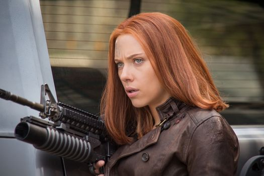 Scarlett Johansson, Black Widow, face, The First Avenger: Another War, actress, girl, view, Natasha Romanoff, machine, Captain America Winter Soldier