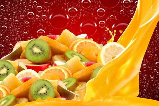 fruit, slices, juice, bubbles