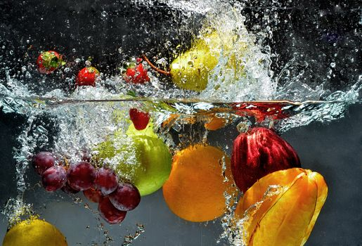 fruit, BERRY, water, spray