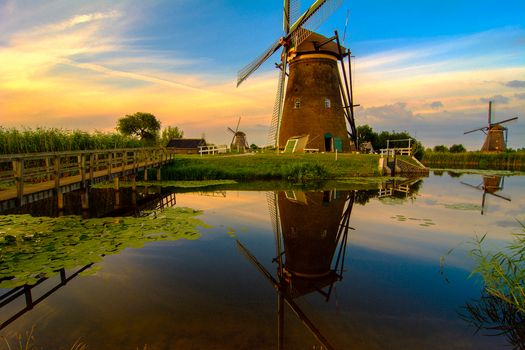 windmill, river, trees, Clouds, Netherlands, sunset, river, mill, landscape