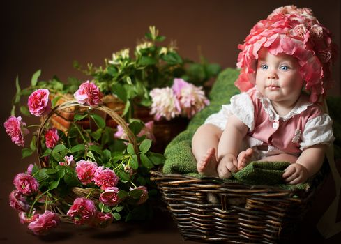 Kisenok рулит, дети, ребенок, младенец, младенцы, маленький, грудничок, груднички, малыш, малыши, корзина, цветы