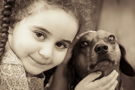 Kisenok taxis, children, girl, girls, portrait, Mono, dog