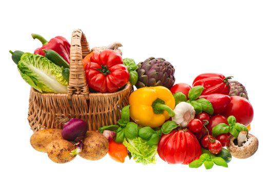 vegetables, tomatoes, paprika, greens, mushrooms, food