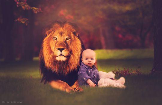 Kisenok taxis, baby, babies, children, baby, baby, kids, boy, lion, glade, Rendering