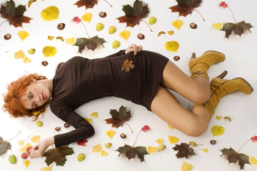girl, autumn, mood