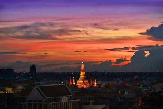 Kisenok рулит, Таиланд, Бангкок, город, храм, рассвет, закат, небо, здания