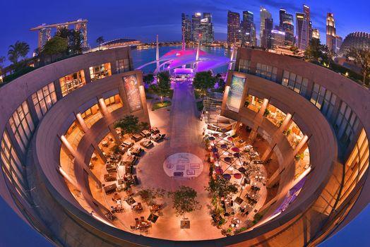 Kisenok рулит, Сингапур, город, ночь, огни, здания, небоскребы, иллюминация