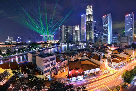 Kisenok рулит, Сингапур, город, ночь, огни, здания, небоскребы, водоем, иллюминация