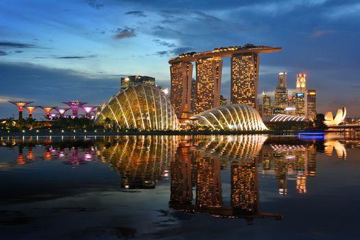 Kisenok рулит, Сингапур, город, ночь, огни, здания, небоскребы, водоем, иллюминация, отражения