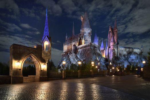 Kisenok рулит, Япония, Осака, город, огни, замок, здание, иллюминация, парк, ночь