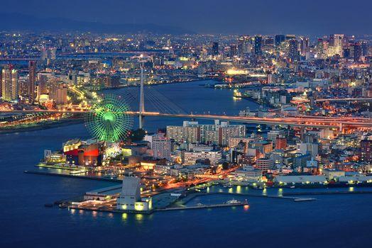 Kisenok рулит, Япония, Осака, город, огни, небоскребы, здания, иллюминация, водоем, ночь