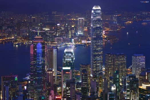 Kisenok рулит, Китай, Гонконг, город, огни, ночь, иллюминация, небоскребы, здания