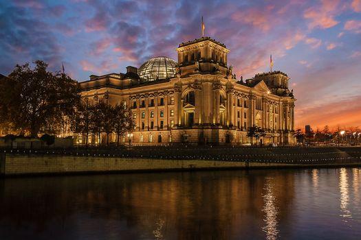 Берлин, germany, Германия, Berlin, город, ночь, иллюминация