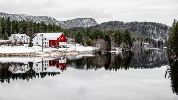 reflection, river, farm, mountains, forest, norway