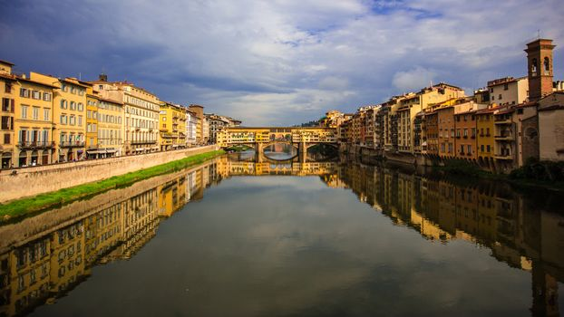 reflection, river, Ponte Vecchio, Italy