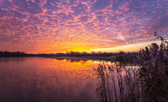 dreamy morning, sunrise, Clouds, Lake, Cambridgeshire, UK