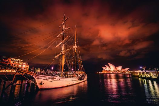 sailing ship, night, Clouds, Sydney, australia