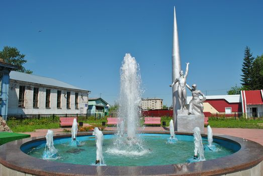 FOUNTAIN, sculpture, statue, space, village, city, Outback, Russia, home, trees, sky, birds, bench