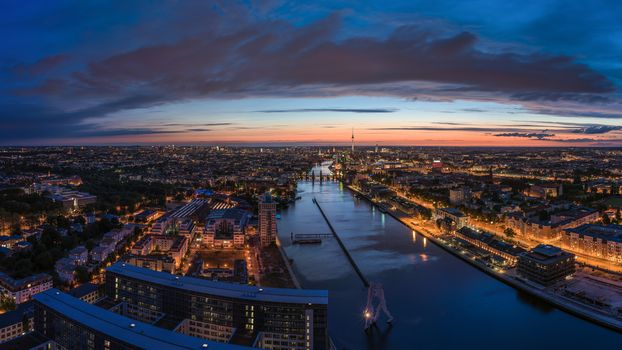 Berlin, Germany, river Spree, city, panorama, night, home, building, TV Tower, road, lights, architecture, sky, bridges, twilight