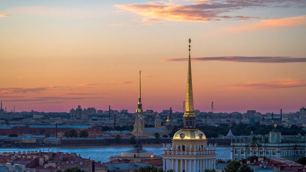 St. Petersburg, Leningrad, Admiralty, Russia, city, view, dusk, River, Neva, sky