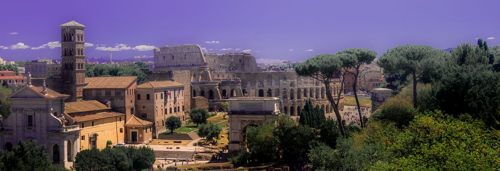 Coliseum, forum, Roma, Italy, archeology, city, trees, sky, architecture, view