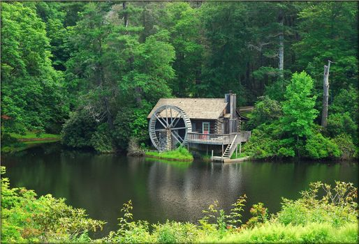 North Carolina, mill, Jackson County, forest, trees, water, landscape