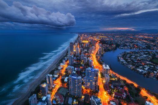 Gold Coast, Queensland, Australia, Coral Sea, Pacific Ocean, Gold-Kost, Queensland, Australia, Coral Sea, Pacific Ocean, sea, ocean, coast, night city, view