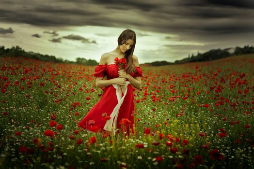 Judith Ugrai, Red dress, meadow, flowers, maki, chamomile, mood