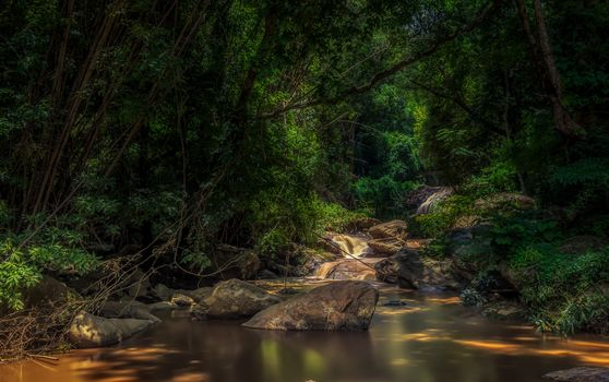 waterfall, forest, trees, small river, stones, nature, Thailand