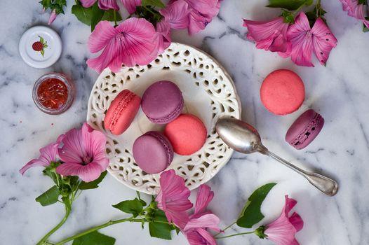 макарон, печенье, цветы, ложка, джем