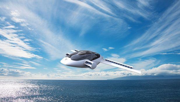 летающий автомобиль, прямой, лилия, Lilium, ЕКА, ESA, высокие технологии, небо, море, горизонт, пейзаж