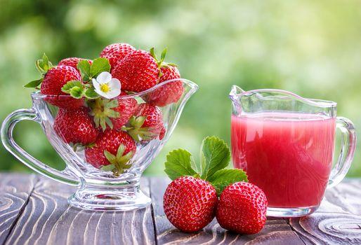 клубника, ягоды, напиток, сок, кувшин