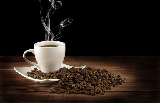 кофе, кофейные зёрна, кружка, чашка, аромат