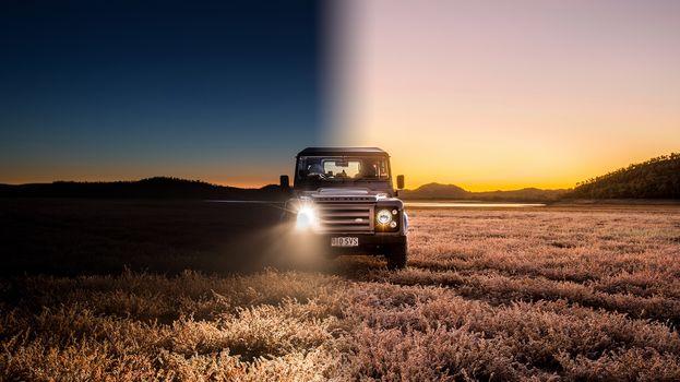 Land Rover Defender, авто, машина, внедорожник, поле, день, ночь