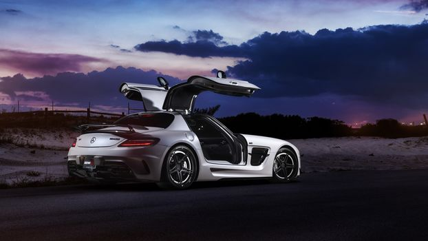 Mercedes-Benz, авто, машина, ночь, дорога