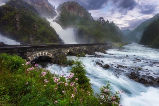 waterfall Lotefoss, Norway, fromto, bridge, River, landscape