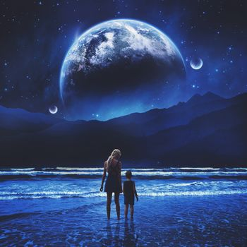 sea, planet, girl, child, night