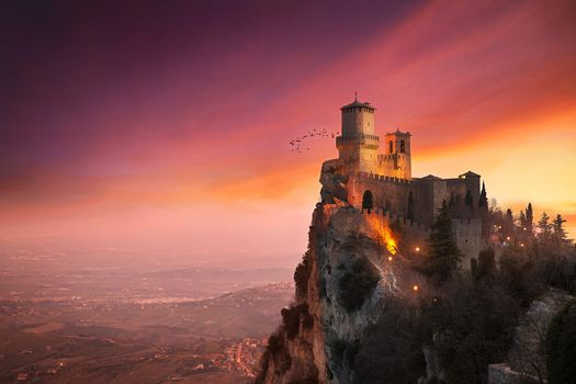 аrchitecture, Castle, Nature, Landscape, Trees, San Marino, Rock, Hill, Town, Tower, Sunset, Clouds, House, Birds Wa