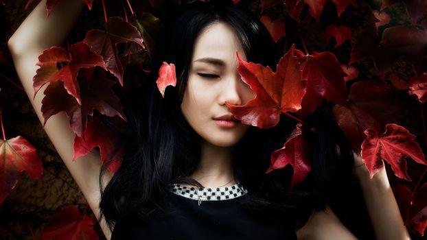 девушка, азиатка, природа, осень, портрет, листва