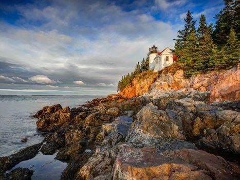 Bass Harbor Head Lighthouse Sunset, Acadia National Park, harbor, lighthouse, sea, rock, landscape