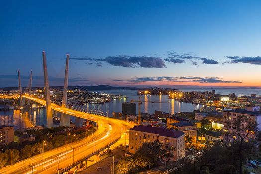 Vladivostok, Primorsky Krai, Russia, city, at home, view, horizon, the mountains, static, sky, Street, road, cars, night, lights, bay, Golden Horn, Golden bridge, clouds, ships, trees