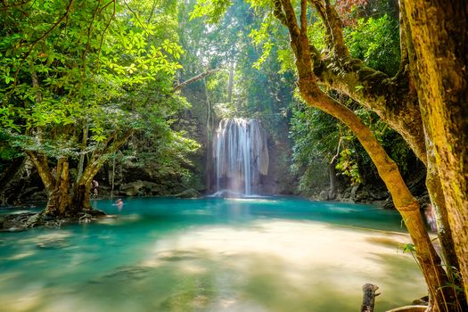 Erawan Waterfall, Kanchanaburi, Province, Thailand, waterfall, water, trees, nature