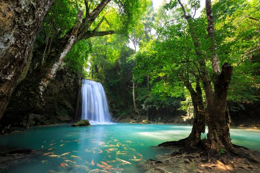 Erawan Waterfall Kanchanaburi, Thailand, waterfall, water, trees, landscape, nature