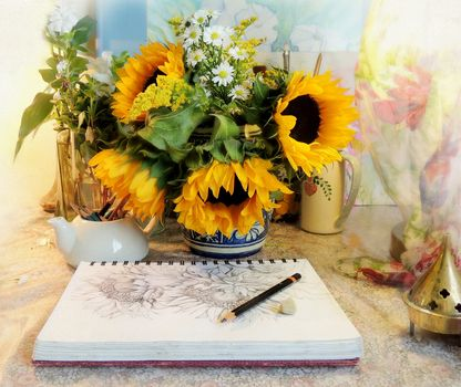 table, vase, flowers, sunflowers, chamomile, notebook, drawing, still life