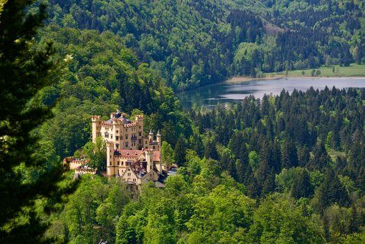 Замок Хоэншвангау, Бавария, Германия, Schwansee озеро, Замок Хоэншвангау, Бавария, Германия, озеро Шванзее, замок, лес, озеро