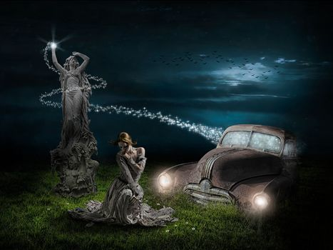 girl, a statue, car, night
