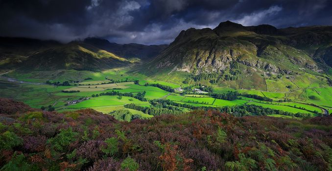 Great Langdale, valley, National Park Lake District, North-West England, view